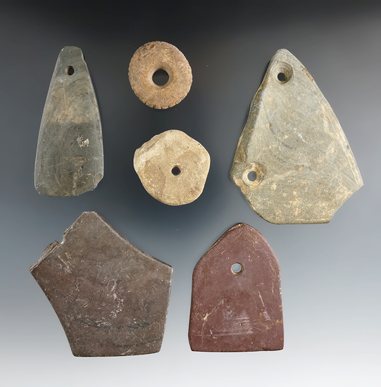 """Set of six Slate and Stone artifacts including a couple salvaged pieces, largest is 3 5/16""""."""