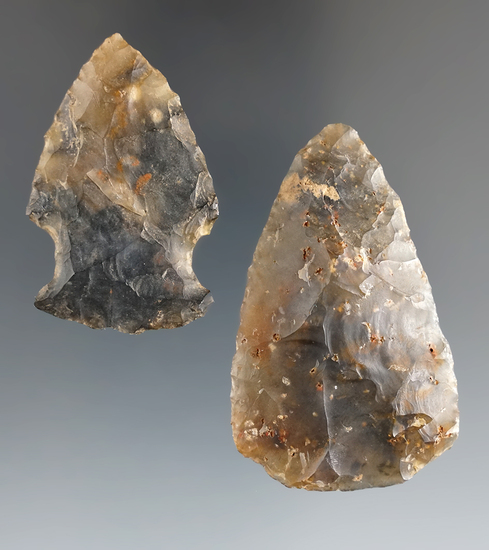 """Pair of Flint Ridge Flint Moss Agate Hopewell artifacts, largest is 2 1/8"""". Both are nicely transluc"""