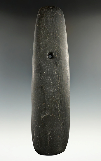 """6 3/4"""" Hopewell Trapezoidal Pendant made from green and black Banded Slate. Ex. Gary Tuttle."""