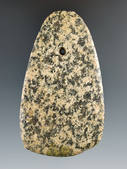 "3 5/16"" Trapezoidal Pendant made from Granite, Paulding Co., Ohio. Ex. Bob Matthias Collection."