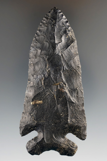 """3 11/16"""" Archaic Thebes made from black Coshocton Flint, found in or near Milan, Erie Co., Ohio."""