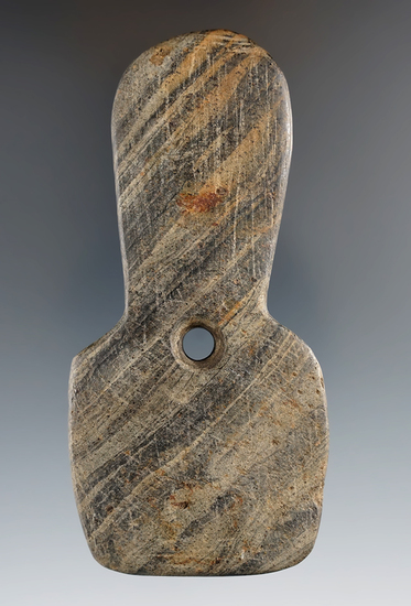 """4"""" Hopewell Shovel Pendant made from Banded Slate, Warren Co., Ohio. Pictured. Ex. Dilley."""