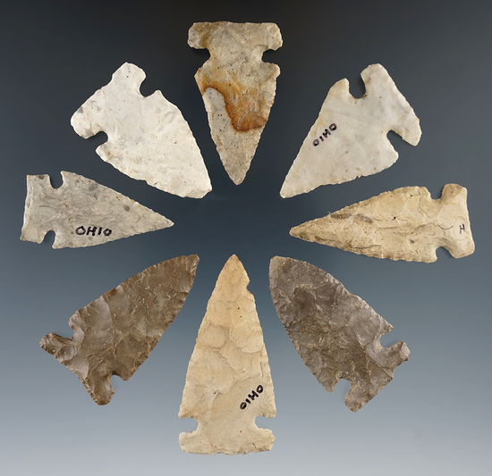 """Set of eight nicely styled Sidenotch Points found in Ohio. Largest is 2""""."""