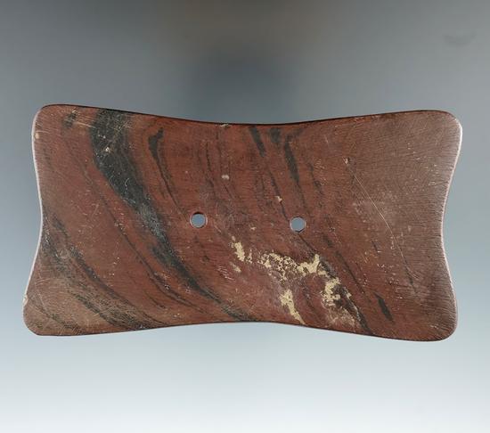 "4 7/16"" Adena Quadra-Concave Gorget found in Ross Co., Ohio. Ex. Terry Elleman (#4194) Collection."