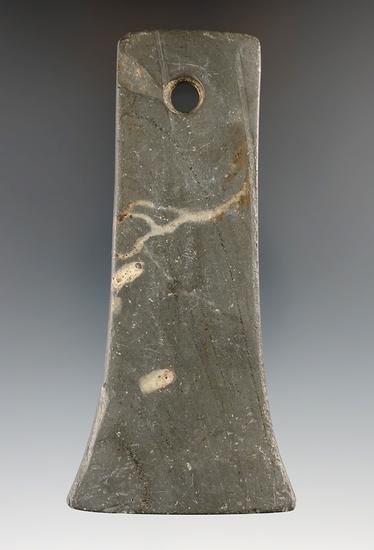 "4 1/2"" Adena Bell Pendant made from Banded Slate, found in Hamilton Co., Ohio. Davis G-9 COA."