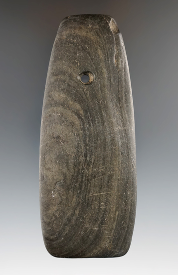 """4 1/4"""" Hopewell Trapezoidal Pendant made from Banded Slate, Montgomery Co., Indiana."""