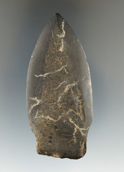 """Well-crafted 2 13/16"""" Inuit slate stemmed harpoon tip/spear point found in Alaska."""