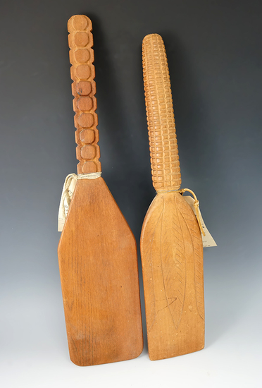 """Pair of 19"""" long nicely styled contemporary corn soup paddles."""