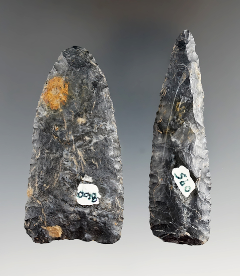 Pair of Coshocton Flint early Archaic Knives found in Stark in Wayne Co.,'s, Ohio. L