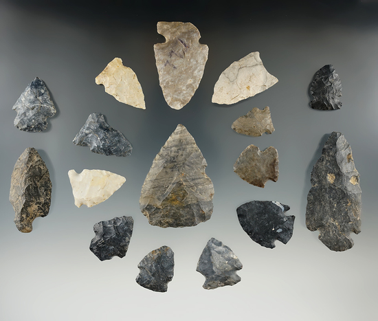 """Group of 16 assorted field found Flint artifacts, largest is 2 5/8"""". Found in Richland Co., Ohio ."""