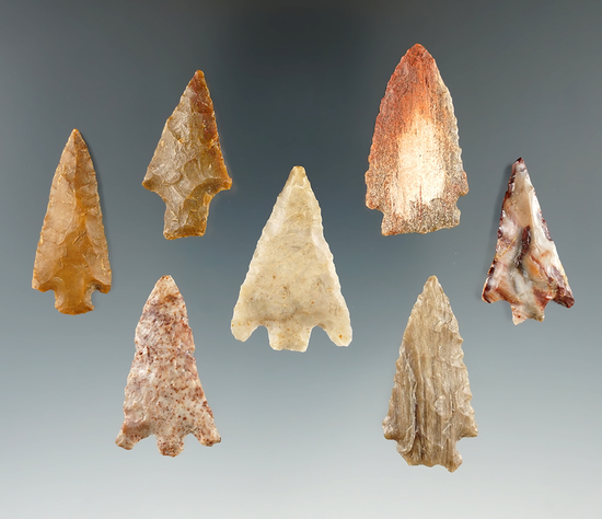 Set of seven arrowheads made from various materials found near the Columbia River