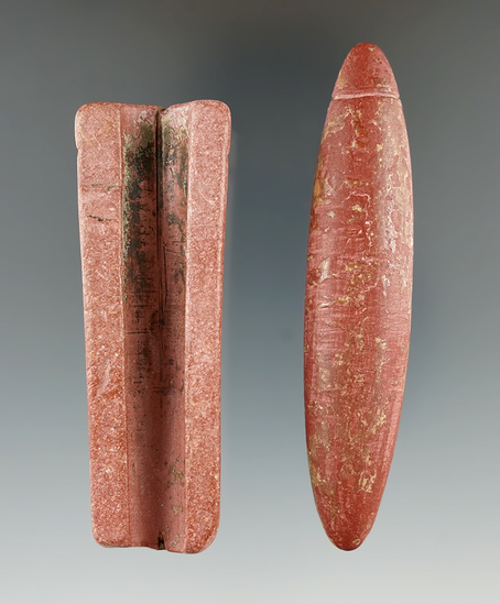Pair of Catlinite artifacts including a section of pipe and a Catlinite grooved Pendant or plummet.