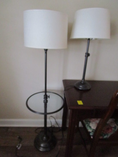 Rm 150 Bronze Tone Floor Lamp with Glass Top Table and
