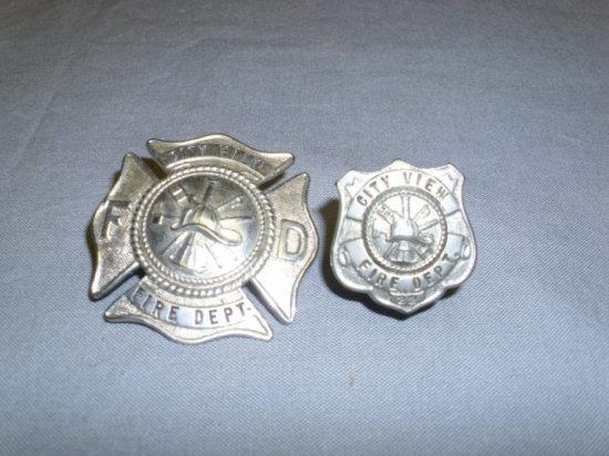 2 City View Fire Dept. Badges