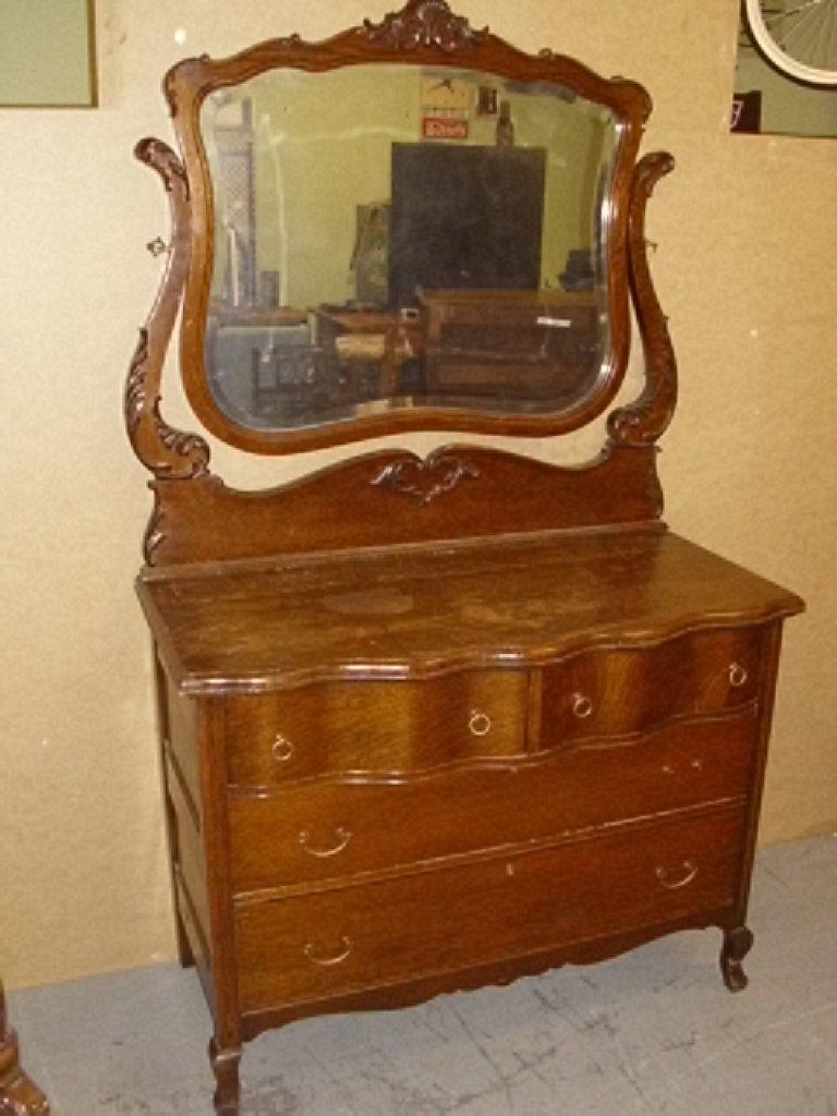 "Antique Oak Dresser w/Mirror approx. 43""W x 52 1/2""H x 20""D"