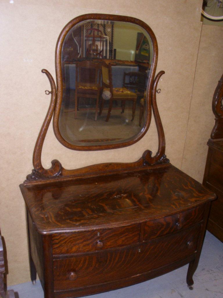 "Antique Tiger Oak Dresser w/Mirror approx.40""W x 64 1/2""H x 18 1/2""D"