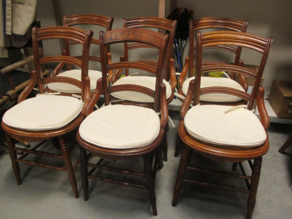 Six Wood Chairs with Caned Seats