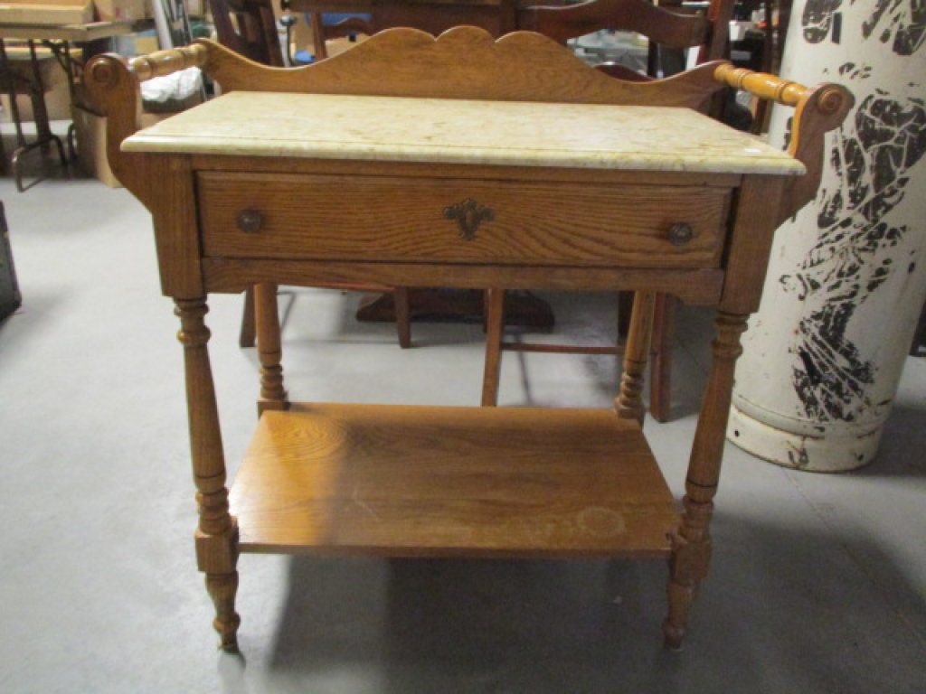 Oak Wash Stand with Culture Marble Top