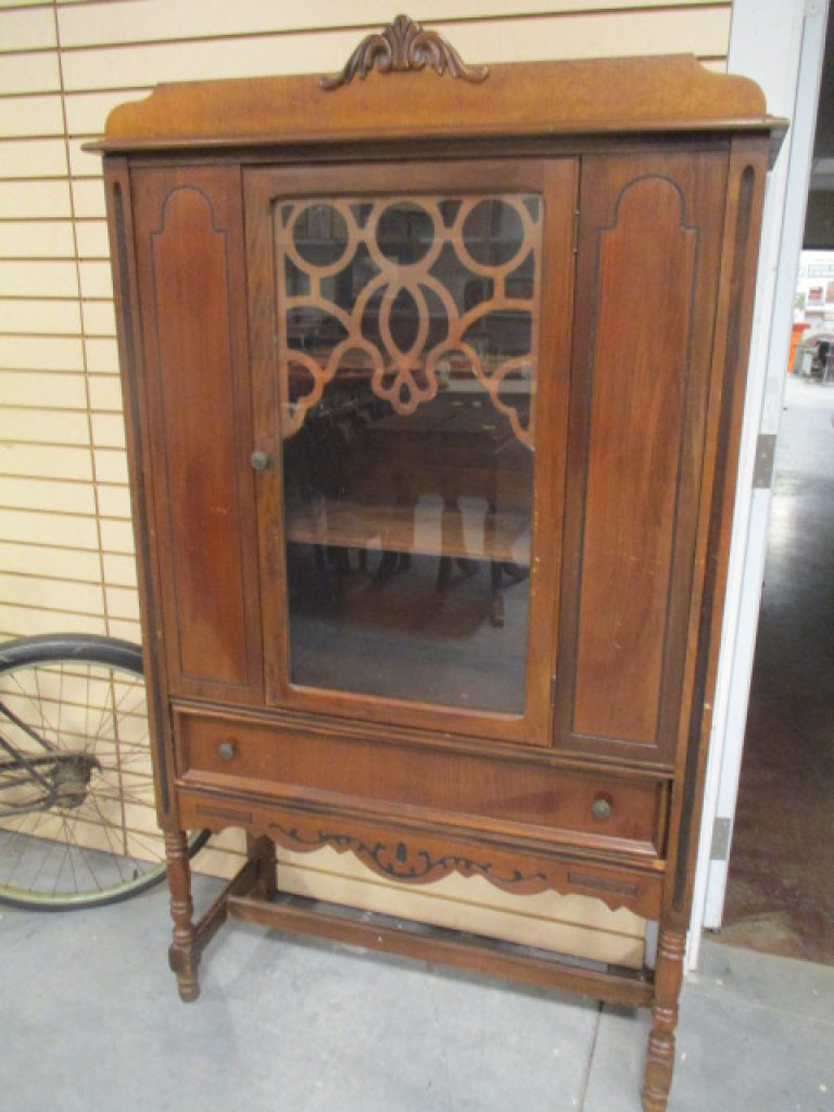 Antique Wood China Cabinet with Glass Door and Drawer