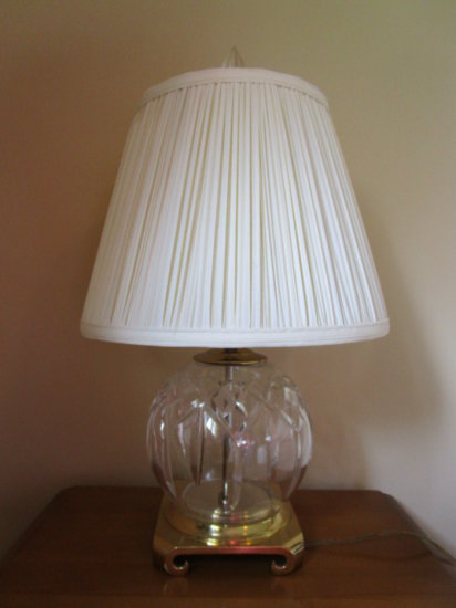 Waterford crystal lamp with cr auctions online proxibid waterford crystal lamp with crescent brass base aloadofball Image collections