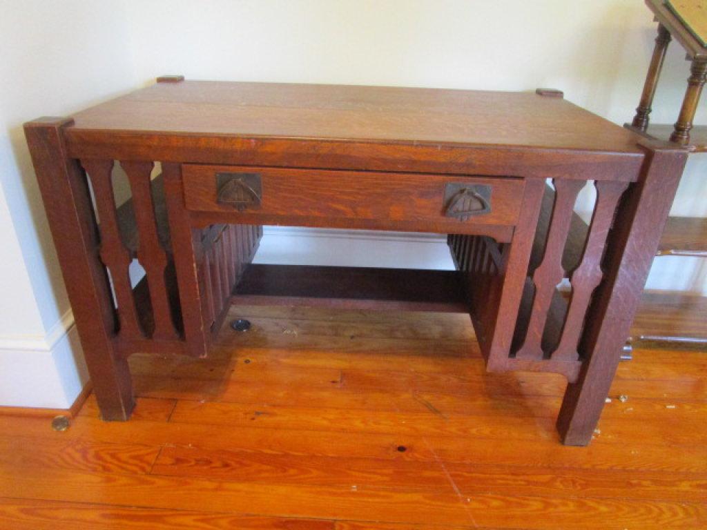 Vintage Oak Mission Style Desk With Open Shelf Ends Art Antiques Collectibles Collectibles Vintage Retro Collectibles Online Auctions Proxibid