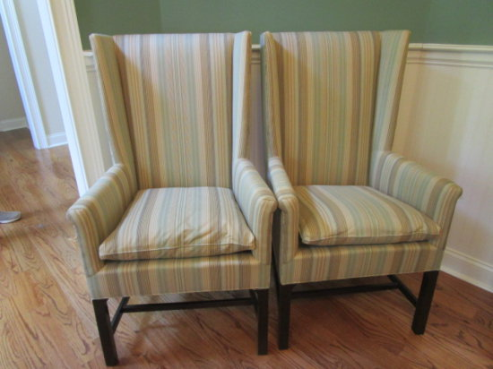 Two Hickory Chair Co. Upholstered Chairs with Removeable Seat Cushions