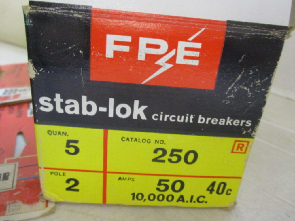 Lot: FPE Stab-Lok 20, 50 and 60 Amp Double Pole Breakers and