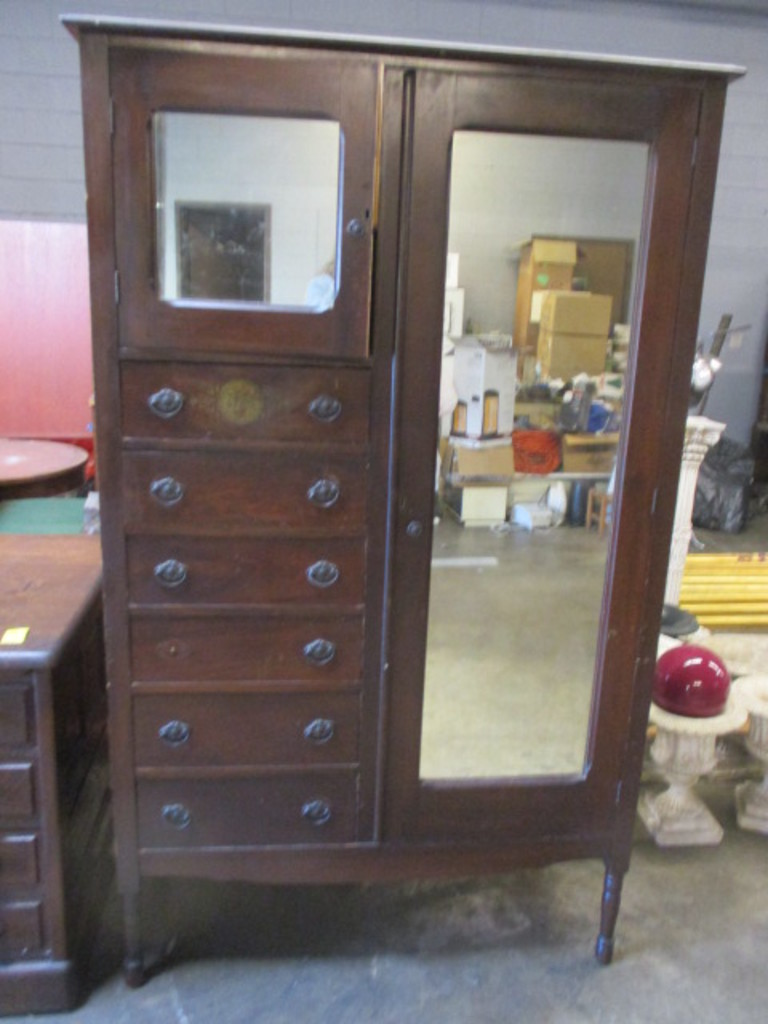 Antique Armoire Wardrobe With Two Mirrored Doors And 6 Drawers Art Antiques Collectibles Antiques Antique Furniture Auctions Online Proxibid