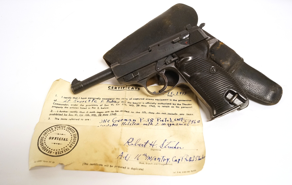 RARE WWII German Nazi CYQ P38 All Matching Pistol with Original Capture Papers & Holster