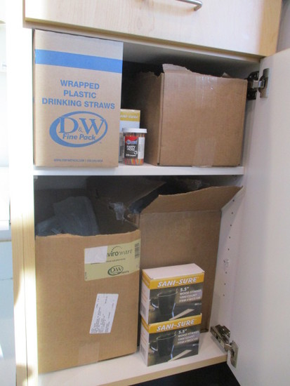 Cabinet Contents - Straws, Wood Stirrers, Plastic Cutlery