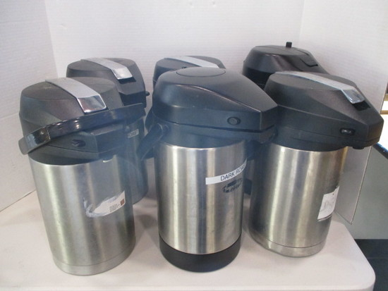 Six Stainless Pump Drink Dispensers