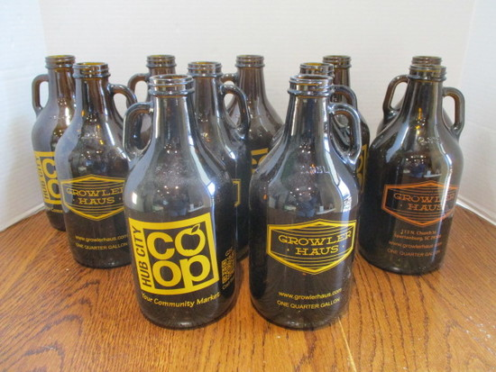 11 Hub City Co-Op Growler Haus One Quarter Gallon Amber Bottles