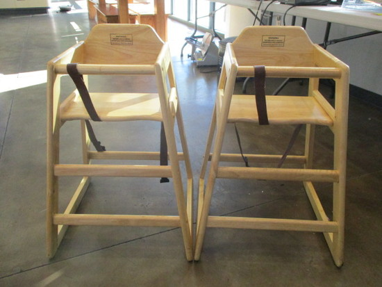 Two Winco Stacking Wood Hi-Chairs