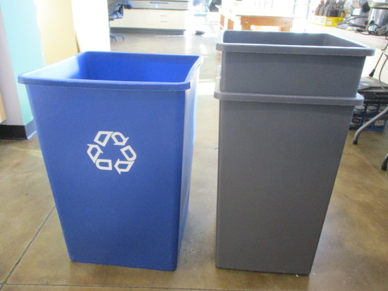 Three Large Open Trash Cans - One for Recyclables