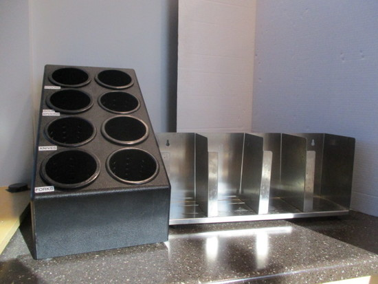 Stainless Steel Dispense-Rite Lid Rack and 8 Bin Cutlery Station
