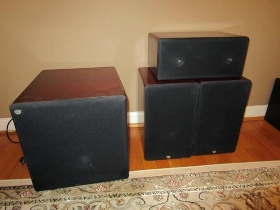RBH TS-10AP Subwoofer, MC-414C Center Speaker, Two MC-6C Bookshelf Speakers