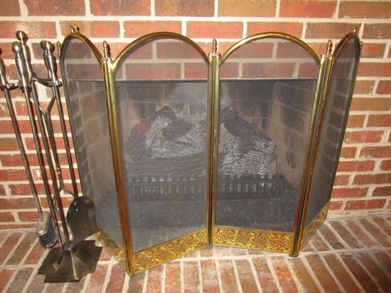 Antique Brass Finish Fireplace Set and Brass Folding Fireplace Screen