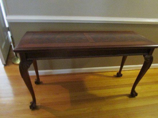 Wood Sofa/Console Table with Ball and Claw Feet