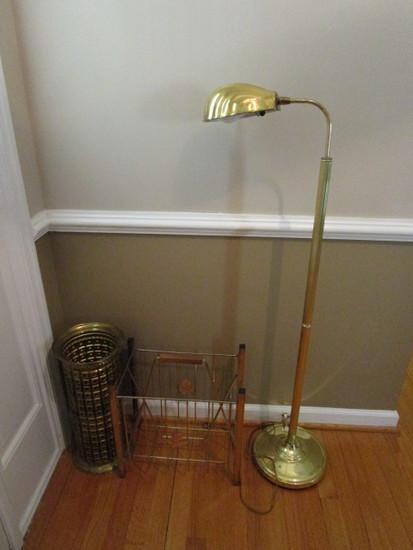 Brass Umbrella Stand, Brass Wire Magazine Rack and Brass Shell Shade Floor Lamp
