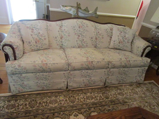 Broyhill Floral Upholstered Sofa with Wood Trim