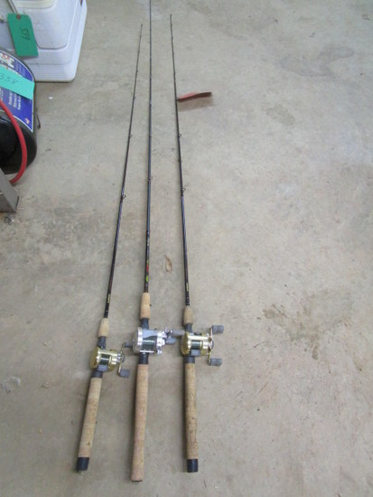 Lot of 3 Rods & Reels