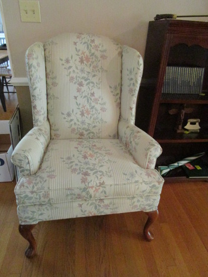 Broyhill Floral Upholstered Wing Back Chair with Queen Anne Style Legs