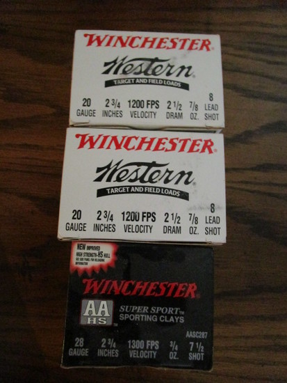 Two Boxes Winchester Western 20 Gauge Shells and Box of Winchester