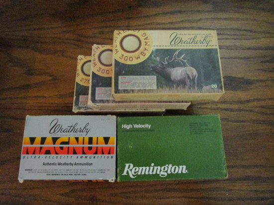 3 Boxes of Weatherby .300 Cartridges, 1 Box of Weatherby .270 Cartridges and