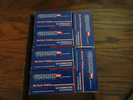 5 Full Boxes of Ultramax Ammunition 223 Remington 50 Cartridges and