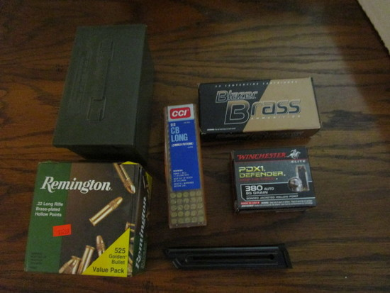 22 Long and 380  Ammunition, Clip for 22 and Hard Plastic Cartridge Storage Case