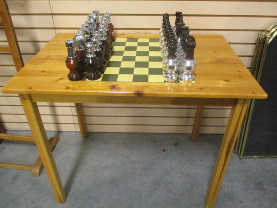 Wood Checker/Chess Board Table with Avon Cologne Chess Pieces