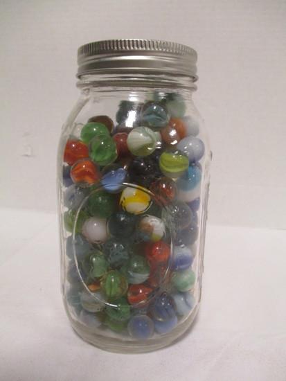 Quart Ball Mason Jar of Marbles