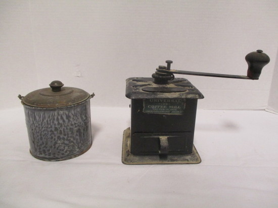 Vintage Universal 109 Coffee Mill and Lidded Enamel Pot