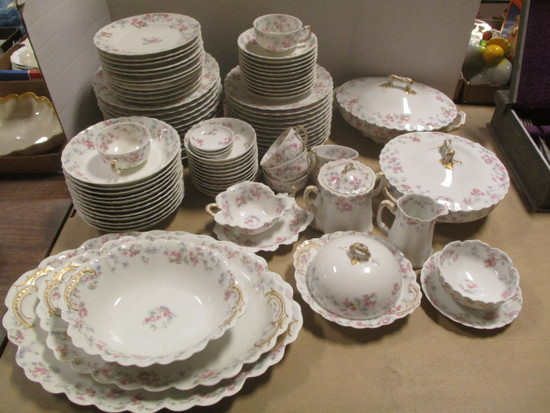 90 Pieces of Antique Haviland & Co. Limoges Pink Azalea China